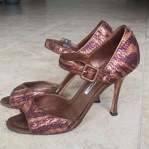 Manolo Blahnik brown gold sequined peeptoe heels 9